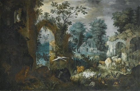 a pastoral scene with cattle deer goats and assorted birds by ruins a village beyond by roelandt savery