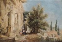 deux orientaux devant un temple by jules (joseph augustin) laurens