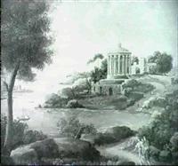 a mediterranean coastal landscape with a corintian temple a mediterranean river landscape by lint