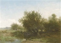 an angler in a summer landscape by johannes warnardus bilders