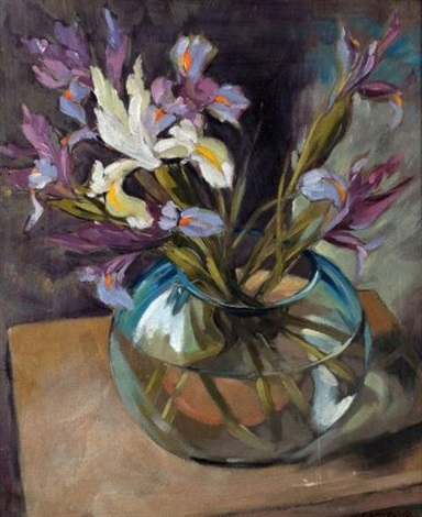 still life of irises in glass bowl study by wilfred e littlewood