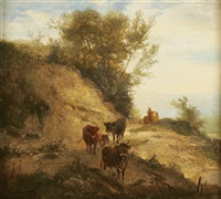 landscape with cattle by ludwig sellmayr