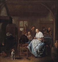 a kitchen interior with a merry company by jan miense molenaer