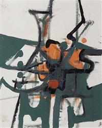 abstract green and orange by anthony hill