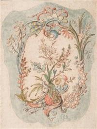 cartouche de style rocaille a décor floral by alexis peyrotte