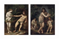 adam and eve (+ the family of adam and eve; pair) by francesco (cecco bravo) montelatici