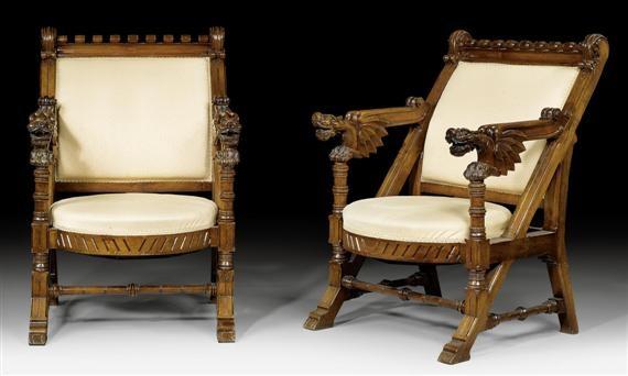 une paire de grands fauteuils aux dragons by antoni gaudí
