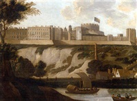 river traffic on the thames, with windsor castle beyond by hendrick danckerts