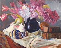 still life with tulips and liliac by paul verona