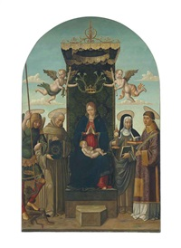the madonna and child enthroned, with saints michael, bernardino of siena, clare and stephen, two angels holding a crown with lilies above by macrino d'alba