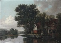 houses by country river by pierre (henri théodore) tetar van elven