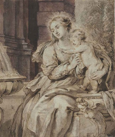 the virgin and child by a fountain by sir peter paul rubens