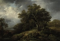 travelers resting along a country path in a wooded landscape by george smith of chichester