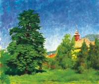 nagybányai táj - landscape in nagybánya by péter rátz