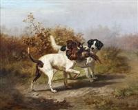 deux setters avec faisans by jules bertrand gélibert