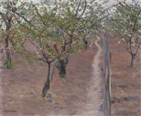 verger, arbres en fleurs, petit gennevilliers by gustave caillebotte