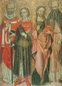 four male saints (saints julian hospitaller and anthony the great?) by alvaro di piero (pedro)