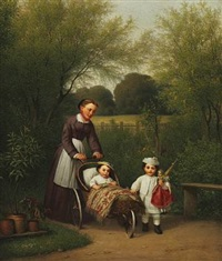 a nanny with two children, a girl with a doll and a boy in a pram by edvard lehmann