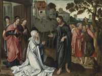christ taking leave of his mother (recto); the miracle of the loaves and the fishes (verso; 2 works) by antwerp school