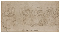 five figure studies of seated women, two with children by pieter brueghel the younger