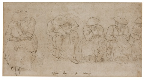 five figure studies of seated women two with children by pieter brueghel the younger