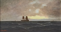 steam ship in dusk by luder arenhold
