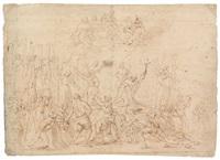 das martyrium des hl. paolo miki und seiner gefährten (+ studie des hl. hieronymus in einer landschaft und skizze eines bärtigen mannes im profil, verso) by ludovico gimignani
