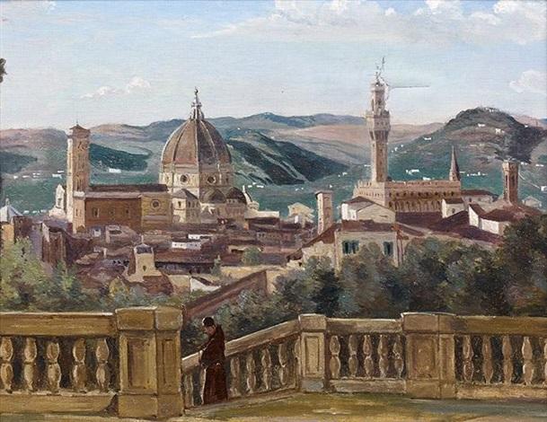 Vue Prise Des Jardins Boboli Florence After Corot By Charles Paul