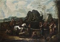cavaliers et paysans à la fontaine de neptune by pieter mulier the younger
