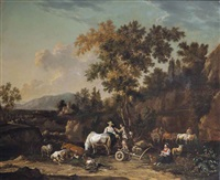 a wooded landscape with peasants on a track by johannes van der bent