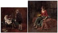 junge frau mit buch am sofa sitzend (+ besuch in der anwaltskanzlei; 2 works) by wilhelm roegge the younger