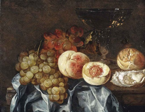 peaches grapes a wineglass an oyster and a piece of bread all on a partially draped marble ledge by abraham van beyeren
