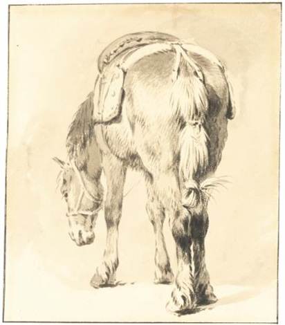 a saddled horse seen from the back by pieter van bloemen