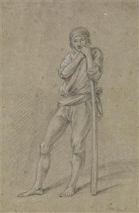 paysan appuyé sur un bâton by jacques teulon