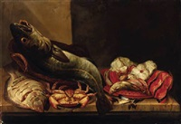 still life of a plaice, a cod, crab, mussels, a gurnard and fish steaks on a ledge by isaac van duynen