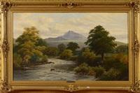 paysage écossais à la rivière mouvementée by clarence henry roe