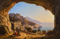 blick auf die amalfi-küste, gesehen von der franz ludwig catel grotte aus by carl (karl) wilhelm götzloff