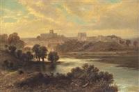 carlisle - flodlandskap med figurer, stad i bakgrunden by george dunlop leslie