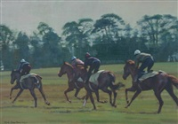 four horses and jockeys on their morning gallop by neil cawthorne