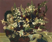 femme au bouquet by lucien joseph fontanarosa