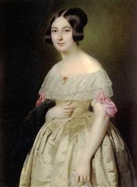 madame paul gomien, née bathilde pernot, en robe de satin ivoire, bordé de dentelle, noud rose et bijou de corsage, tenant un châle de gaze noir d'une main by paul gomien
