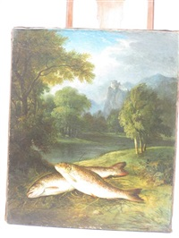 two fish on a riverbank, a wooded landscape with castle beyond by george hilditch