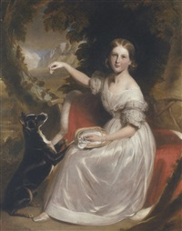 portrait of marianne gage, seated on a red cloak trimmed with ermine, feeding a dog in a wooded mountain landscape by stephen catterson smith