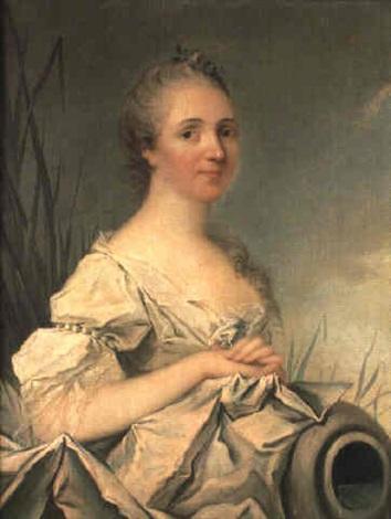 portrait de jeune femme en source by louis richard françois dupont