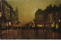 view of briggate with dyson's clock in the background, leeds by john atkinson grimshaw