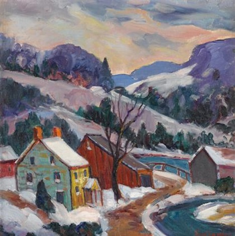 winter landscape sunset by fern isabel coppedge