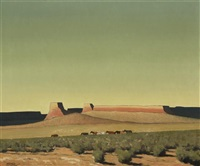 open range - arizona, horses in southwest landscape by harold buck weaver
