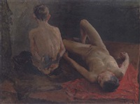 two boys bathing by viktor aleksandrovich tsvetkov