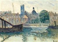 dieppe, bateaux à quai by maximilien luce