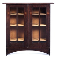 rare double-door bookcase by harvey ellis